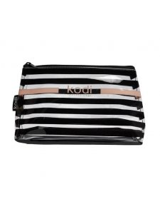 "Cosmetic bag ""Zebra"" large transparent in a black strip (size: 24 * 14 * 6.5)"