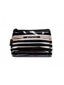 "Cosmetic bag ""Zebra"" small transparent in a black strip (size: 20 * 13 * 6.5)"