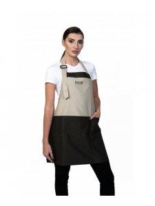 Apron, Color: Beige with Brown Inserts, Black Logo (short)