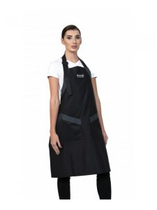 Apron, Color: Black with Gray Inserts, White Logo (long)